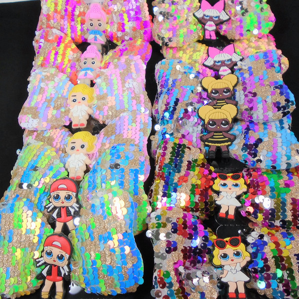 """5"""" Sequin Gator Clip Bows Kids Theme Mixed Styles   .58 each"""