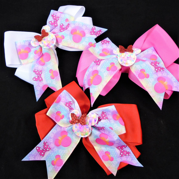 """NEW STYLE 5"""" Layered  Print Gator Clip Bows w/Sequin Center & Tails   .60 each"""