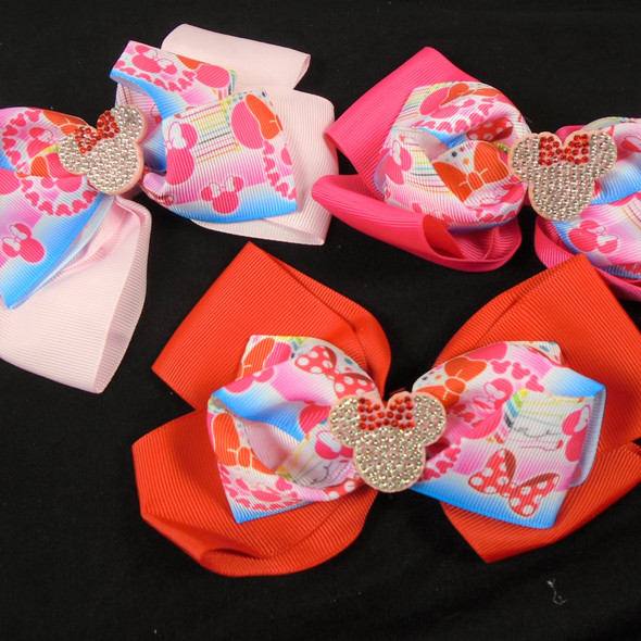 """NEW STYLE 6"""" Layered  Print Gator Clip Bows w/Cry. Stone Center    .60 each"""