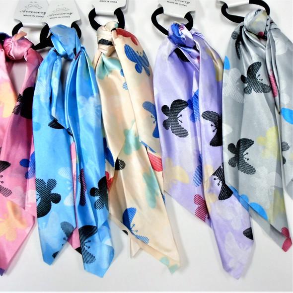 "12"" Satin DBL Side Print Scarf w/ Hair Tie Butterfly Print  .60 each"