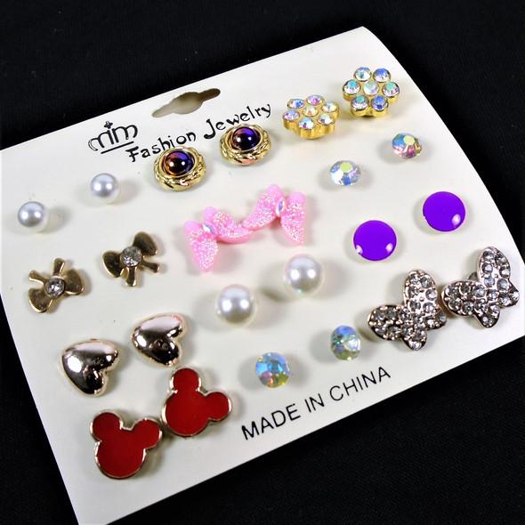 12 Pair Mixed Stud Fashion Earrings Earrings  .56 per set