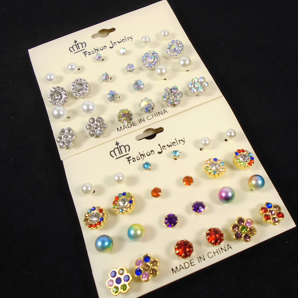 12 Pair Mixed Stud Fashion Earrings Earrings (3989)   .56 per set