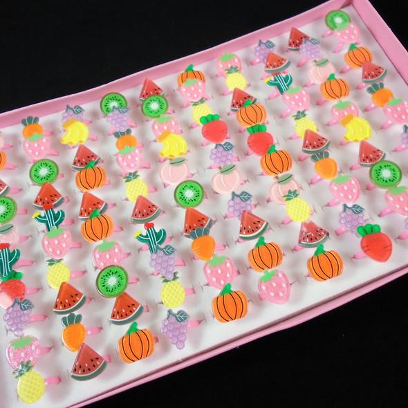 Kid's Colorful Fruit,Pumpkin Adjustable Novelty Rings 100 per tray  .08 ea