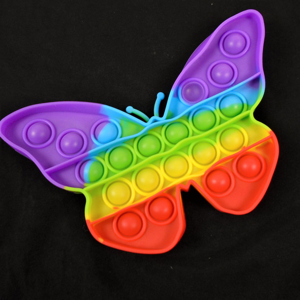 """6"""" Silicone Fidget Popper RAINBOW Color BUTTERFLY Shaped   10 per pk  $ 2.75 each"""