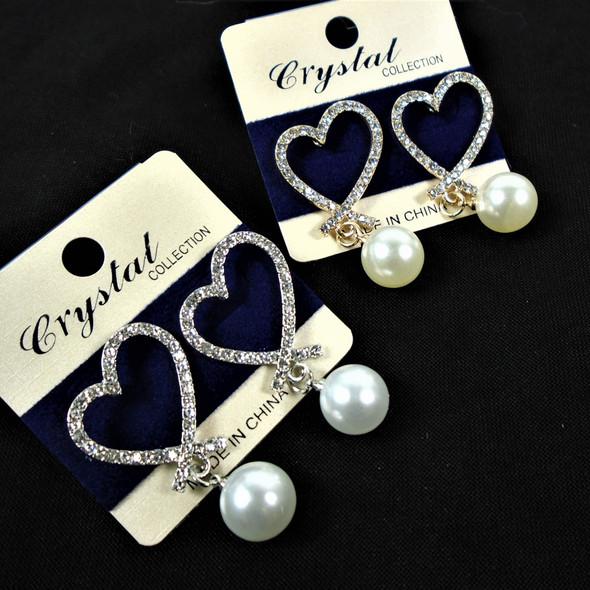 Elegant Gold & SIlver Cry. Stone Earring w/ Pearl Drop .60 per pair