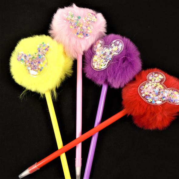 "8"" Ball Point Pen w/ Faux Fur Top w/ Glitter Ornament   12 per pk  .60 each"