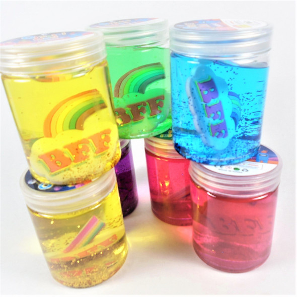 """3"""" Mixed Color Crystal Mud Slime  w/ BFF Rainbow inside 12 per bx  .65 each"""