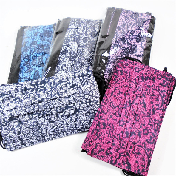 Fashion Lace Designer Look Print Disposable Face Mask  50 pcs per pack   .12 each
