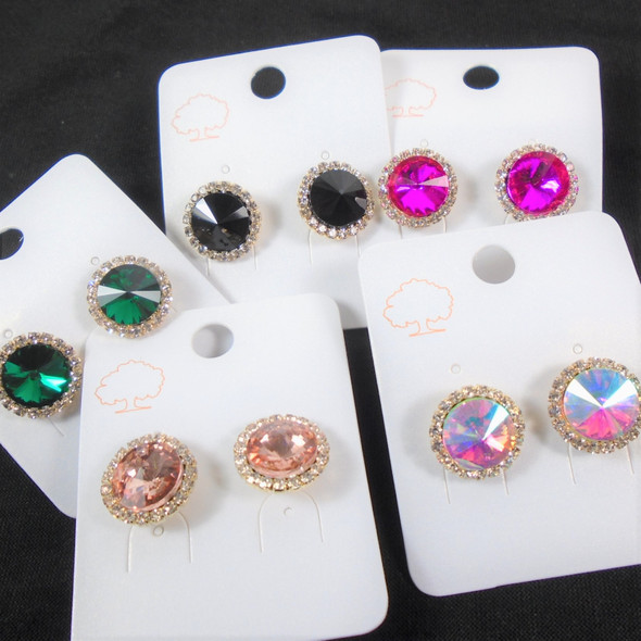 BEST BUY Dime Size Super Shiney Crystal Stone Earrings  .62 per pair