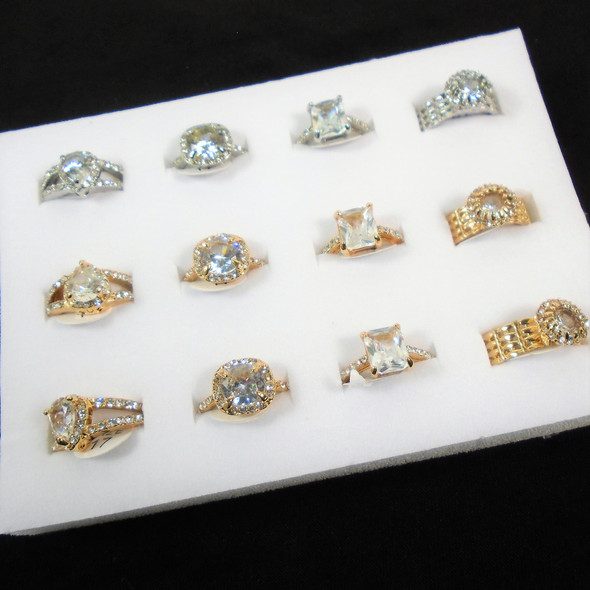 BEST BUY Mixed Style Gold & Silver Crystal Stone Rings  12 per bx  .62 ea