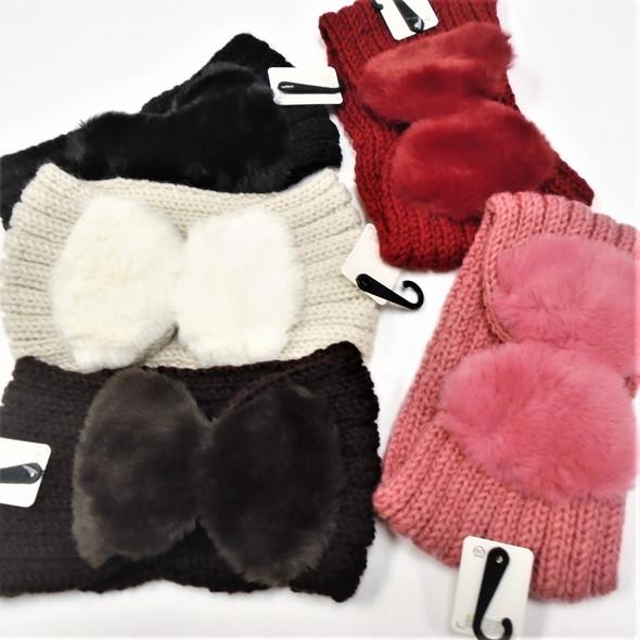 """5"""" Winter Knited Headbands w/ 5.5"""" Faux Fur Bow  12 per pk  $ 2.75 each"""