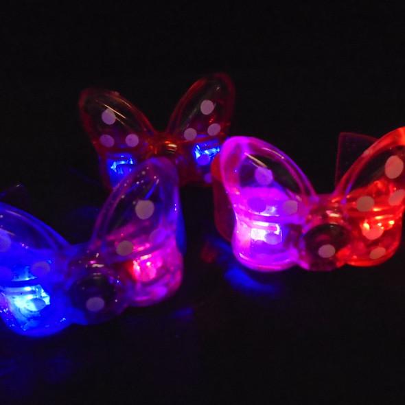 Acrylic Flashing Butterfly Cuff Bracelets w/ Poka Dots  12 per pk .75 ea