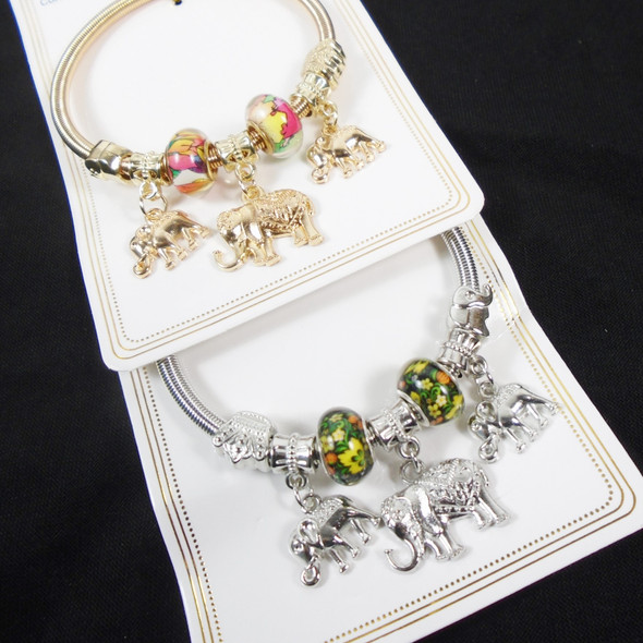 Gold & Silver Spring Style Beaded Bracelet w/ Mixed Elephant Charms   .60  each