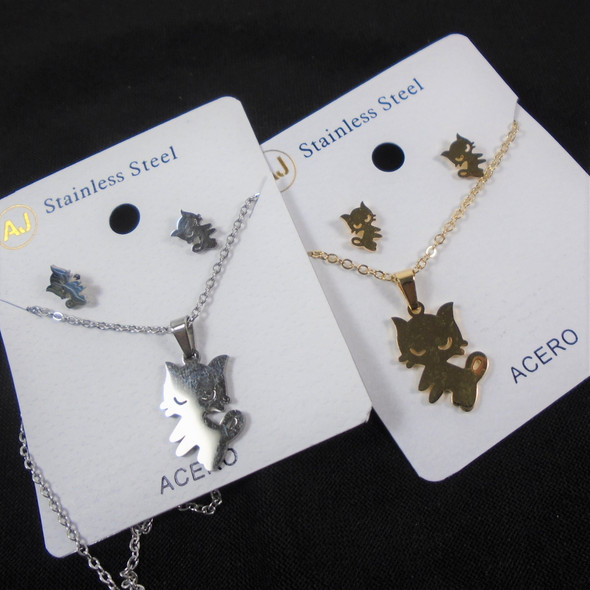 Stainless Steel Necklace & Earring Set Gold/Silver Cute Cat Theme  .60 per set