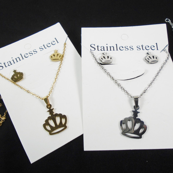 Stainless Steel Necklace & Earring Set Gold/Silver Crown Pendant  .60 per set