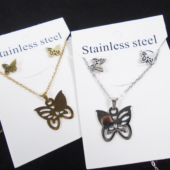 Stainless Steel Necklace & Earring Set Gold/Silver Butterfly Pendant  .60 per set