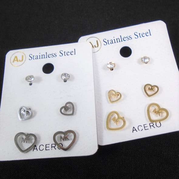 3 -Pair Gold & Silver Stainless Steel Earrings Cry. Stud & Hearts  .58 per set