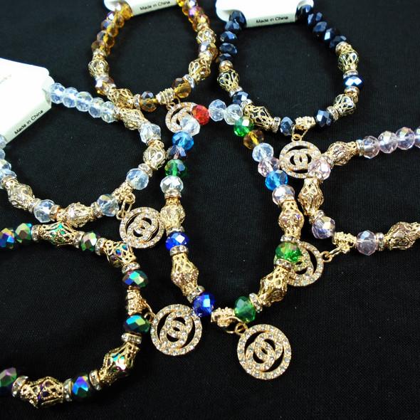 Crystal  Bead Fashion Stretch Bracelets w / DBL Crystal Stone Charm   .60 ea