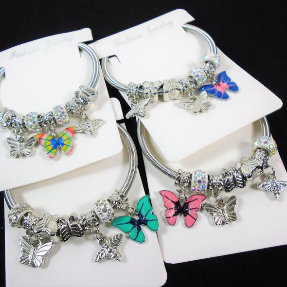 Gold & Silver Spring Style Beaded Bracelet w/ Butterfly Charm .60  each
