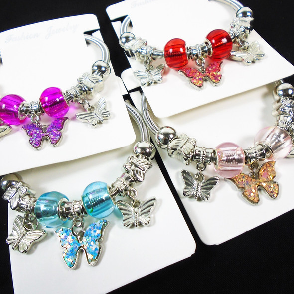 Gold & Silver Spring Style Beaded Bracelet w/ Sparkle Butterfly Charm .60  each
