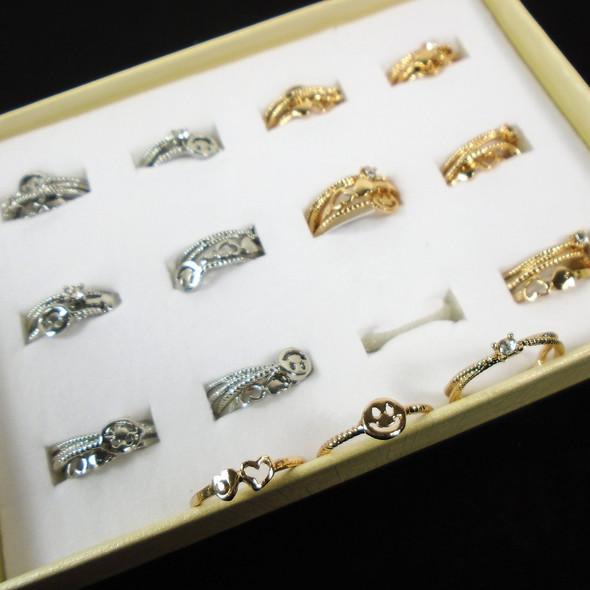 Gold & Silver Fashion Rings  36 pcs per bx   .20 each