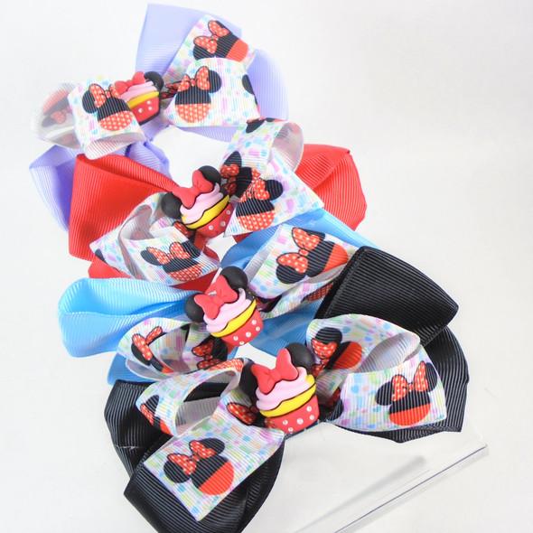 SO CUTE Asst Color Girls Headbands Layered Bow w/ Cupcake  .60 each