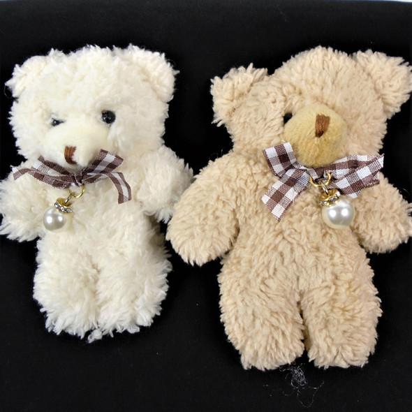 """Cute 4.5"""" Fuzzie Plush Teddy Bear Keychains w/ Pearl  .58 each"""