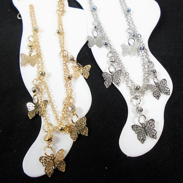 Gold & Silver Multi Chain  Anklets w/ Dangle Butterfly Charms   .58 each