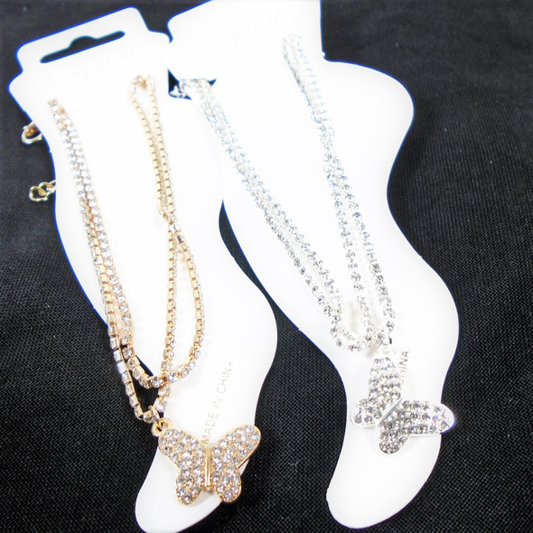 DBL Line Gold/Silver Rhinestone Chain Anklets  w/ Butterfly Charm .58 ea