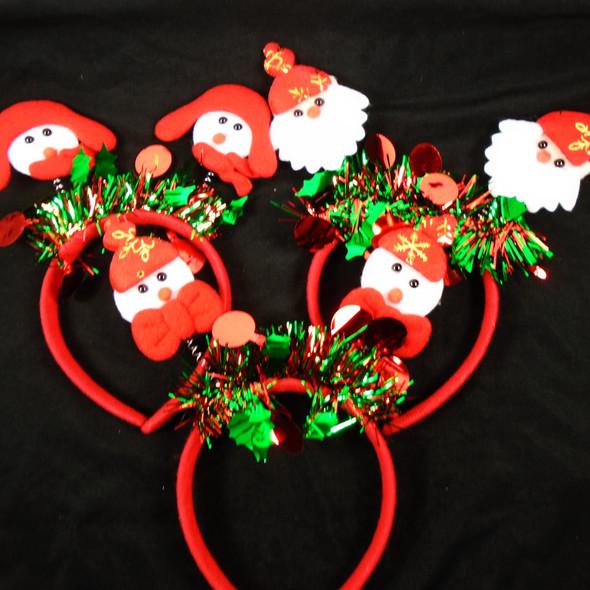 Mixed Pack Christmas Headbands Bobble Head  w/ Tinsel  .70 each