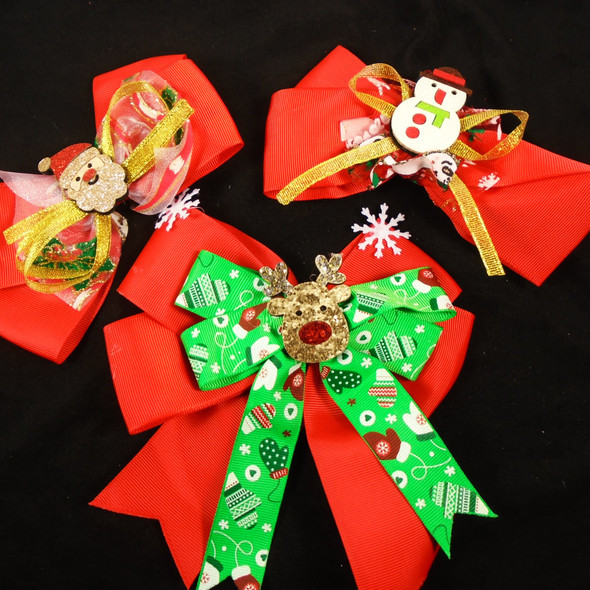 """3 Style Mixed Pack 6"""" Christmas Gator Clip Bows  12 per pk  .60 each"""