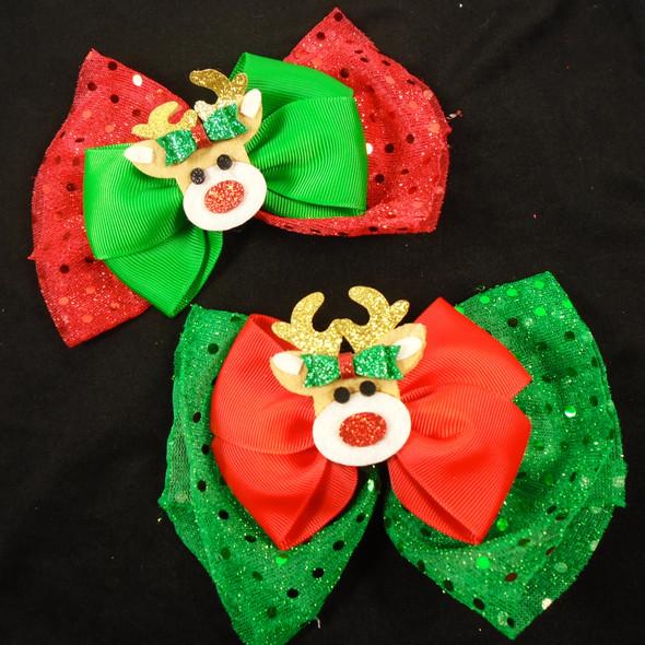 "3 Layer  6"" Christmas Gator Clip Bows w/ Reindeer   12 per pk  .60 each"