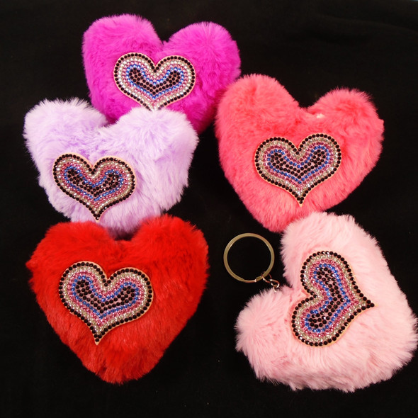 """Just for Mom 4"""" Faux Fur Heart Keychain w/ Crystal Stone Heart  12 per bx  .65 ea"""