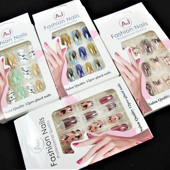 Multi Style Pack Mixed Color  12 Pk Pre Glued Fashion Nails (1001) .58 each set