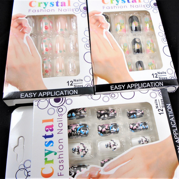 Multi Style Pack Mixed Color  12 Pk Pre Glued Fashion Nails (3488) .58 each set