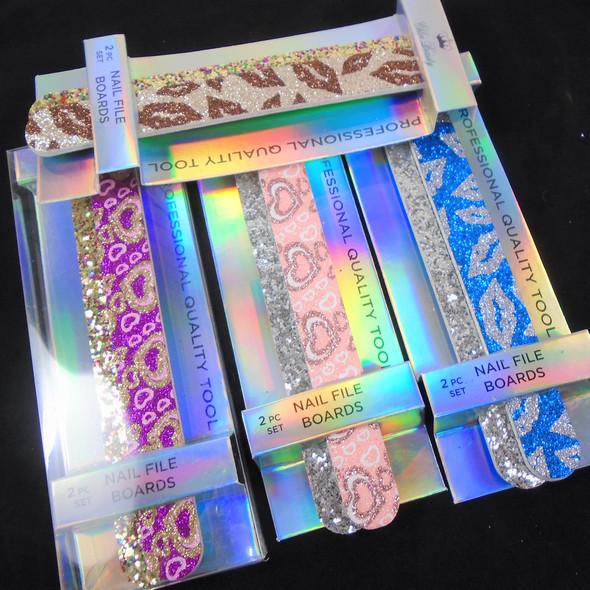 2 Pk Gift Set Professional Quality Nail Files Glitter Pattern  .62 per set