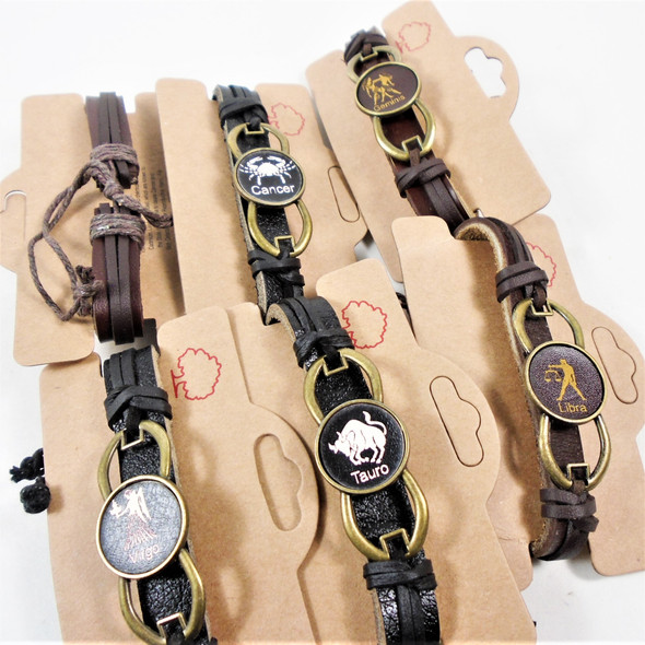 NEW STYLE Leather BRacelets Zodiac Sign in Gold Frame  .62 each
