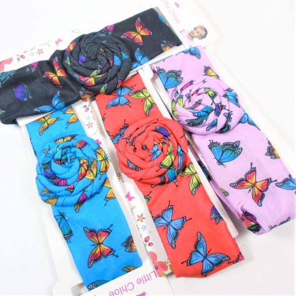 Kids Butterfly Print Stretch Headbands  w/ Ruffle Flower Center   .56 each