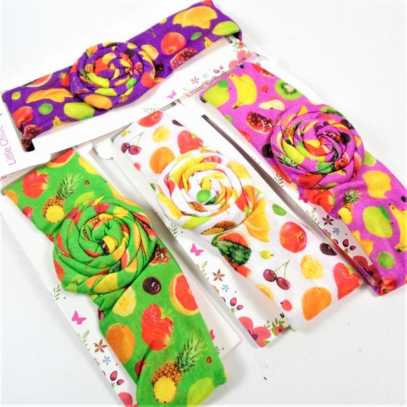 Kids Fruit  Print Stretch Headbands  w/ Ruffle Flower Center   .56 each