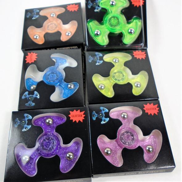 """Best Quality 3"" Fidget Spinners UFO Glitter Style   24 per display bx .50 each"
