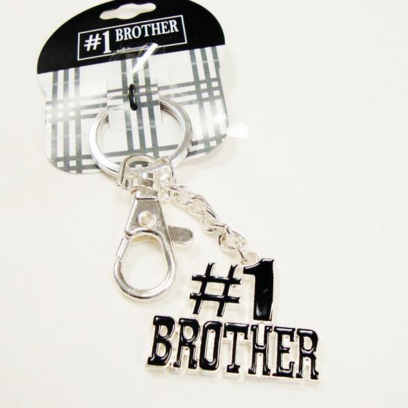 Silver Metal #1 Brother Keychain w/ Black Epoxy 24 per pk $1.00 eaCH