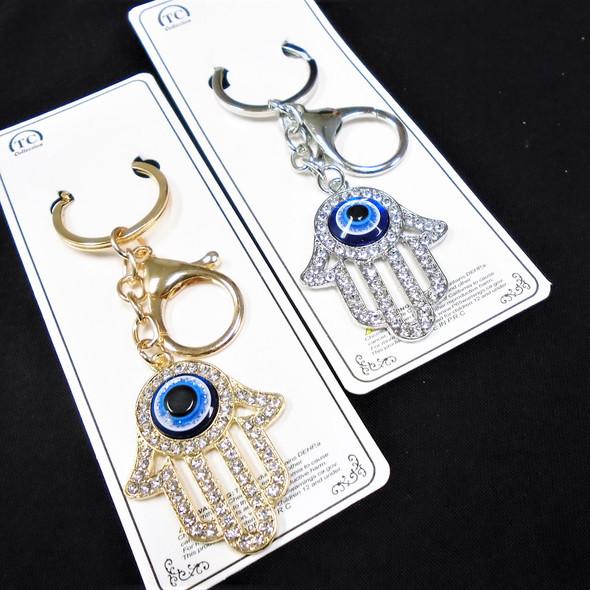 """2"""" Gold & Silver Hamsa Keychain/Clip  w/ Crystal Stones & Eye Bead   12 per pk  .60 each"""