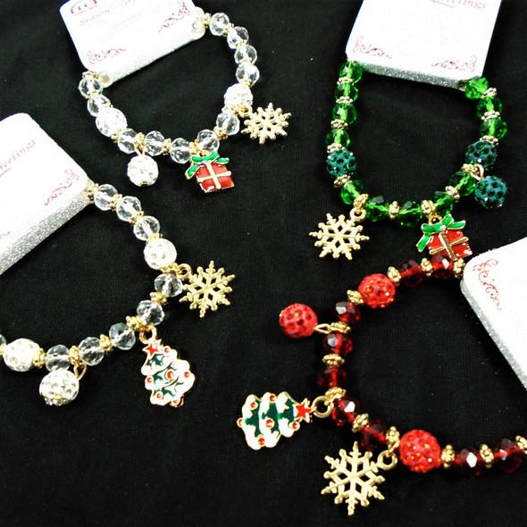 Christmas Crystal Bead Charm Bracelet w/ Snowflake & Tree  .60 each