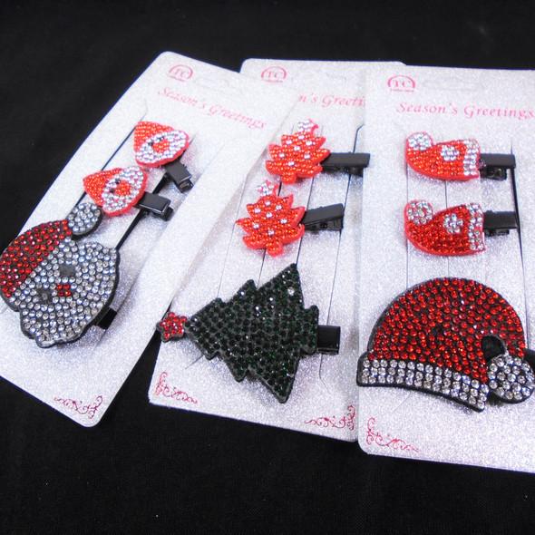 3 Pack Christmas Crystal Stone  Hair Clip Sets  Mixed Styles  .60 per set