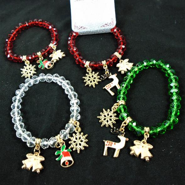 Christmas Crystal Bead Charm Bracelet w/ Snowflake,Bells,Reindeer  .60 each
