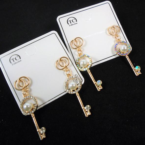 Elegant Gold KEY Crystal Stone & Pearl  Fashion Earrings   .60 per pair