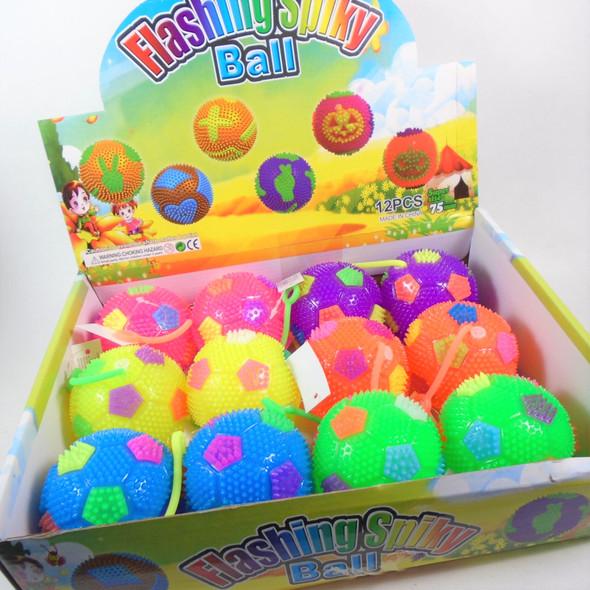 "2.5"" Flashing Squeakie Spiky Theme Balls  w/ YoYo 12 per display bx .89  ea"