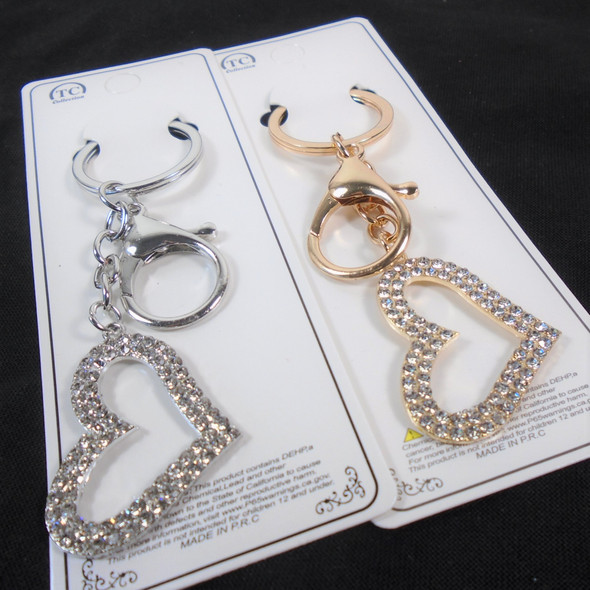 """2"""" Gold and Silver Heart Keychain/Clip  w/ Crystal Stones  12 per pk  .65 ea"""