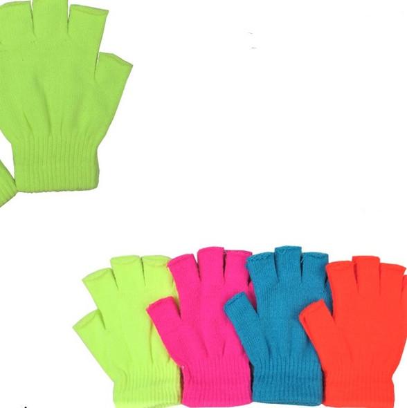 Neon Color Kids Size Knit Fingerless Magic Gloves 12 pair pk .60 ea pair