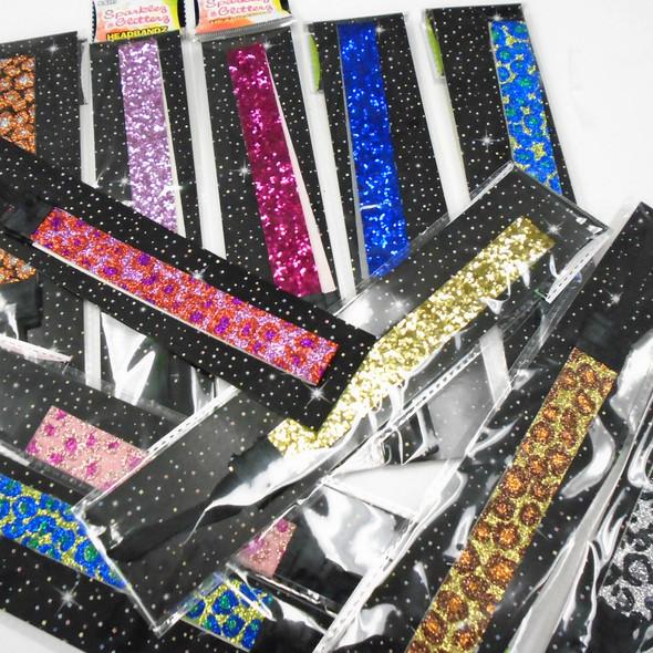 Mixed Sparkle & Glittery Headbands w/ Elastic Back  24 pcs mixed per display